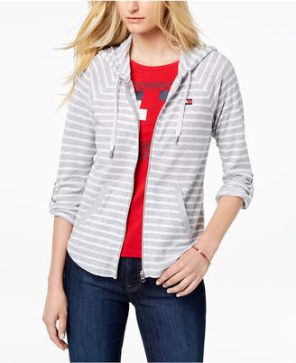 Tommy Hilfiger Striped Roll-Tab Sleeve Hoodie, Created for Macy's