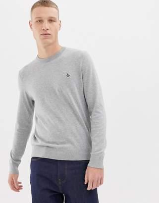 Original Penguin icon logo pima cotton crew neck knit sweater in gray marl