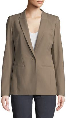 Lafayette 148 New York Harvey One-Button Wool-Stretch Blazer Jacket