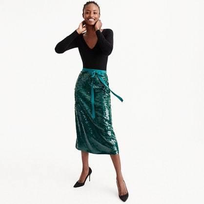 Sequin midi skirt with tie