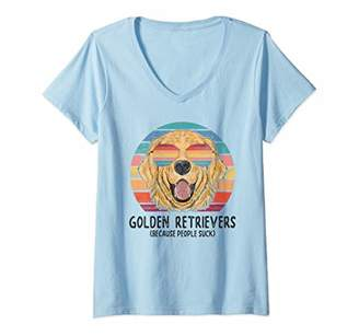 Golden Retriever Womens Dogs Because People Suck Funny Dog Gift V-Neck T-Shirt