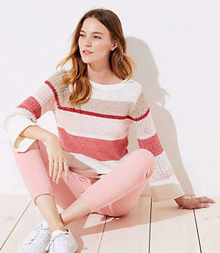 LOFT Striped Stitched Sleeve Sweater