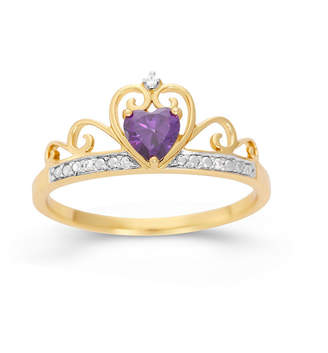 FINE JEWELRY Heart-Shaped Simulated Amethyst & Cubic Zirconia 18K Gold Over Silver Ring
