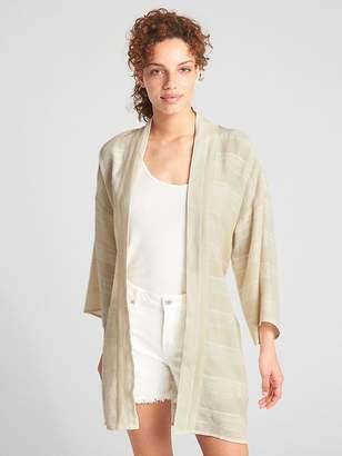 Gap Longline Belted Topper Jacket in Cotton-Linen