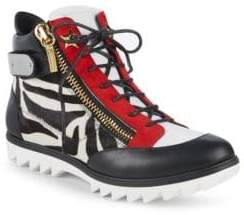Giuseppe Zanotti Side Zip Leather Hi-Top Sneakers