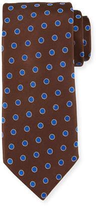 Canali Textured Dot Silk Tie, Brown