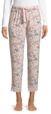 Josie Natori Lace-Trim Floral Drawstring Pants