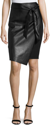 Philosophy Faux-Leather Tie-Front Skirt, Black $69 thestylecure.com