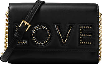 Michael Kors MICHAEL Ruby Leather 'Love' Clutch Bag, Black