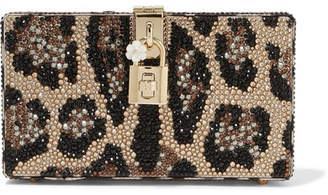 Dolce & Gabbana Dolce Box Crystal-embellished Acrylic Clutch - Leopard print