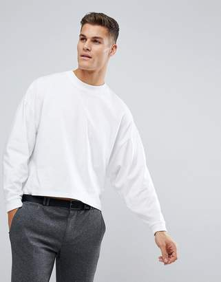 Asos DESIGN Oversized Long Sleeve T-Shirt With Extreme Batwing In Cropped Length In White