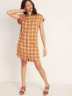 Old Navy Plaid Shirred Shirt Dress for Women