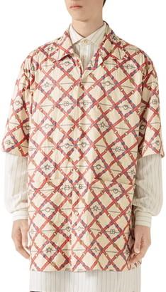 Gucci Belt Chess Longline Button-Up Camp Shirt