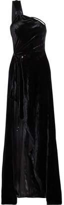 Mugler - One-shoulder Asymmetrical Velvet Gown - Black $2,645 thestylecure.com