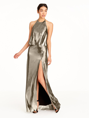 Halston Metallic Silk Lame Gown