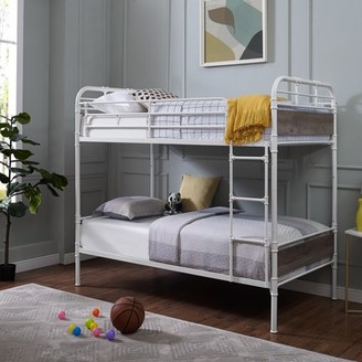 Manor Park Urban Industrial Twin over Twin Metal Wood Bunk Bed - White and Grey Wash