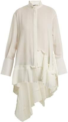 Alexander McQueen Asymmetric ruffle-trimmed silk-crepe blouse
