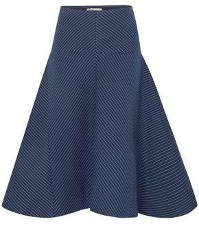 Fendi Flared Pinstriped Cotton-blend Gabardine Midi Skirt