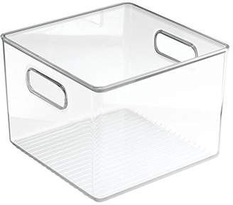 InterDesign Linus Square Storage/Organiser Box with Handles, Made of BPA-Free Plastic, Clear
