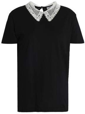 Sandro Henria Lace-Trimmed Cotton-Jersey T-Shirt