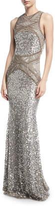 Rachel Gilbert Sleeveless Geometric Beaded Gown