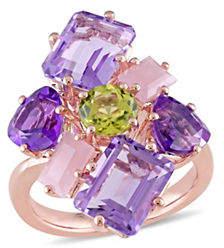 Catherine Malandrino Rose Gold Plated Gemstone Cluster Ring