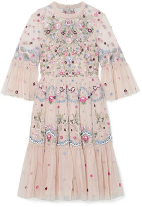 Needle & Thread Dreamers Embroidered Tulle Mini Dress - Baby pink