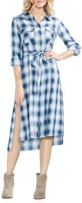 Vince Camuto Sapphire Bloom Ombre Plaid Shirtdress