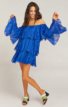 Show Me Your Mumu Chicka Chicka Dress ~ Flutter Stripe Chiffon Cobalt