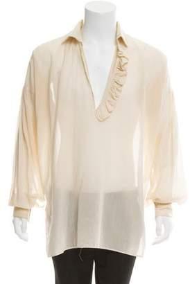 Gucci Woven Ruffle-Accented Shirt