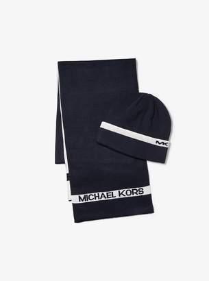Michael Kors Logo Cotton Beanie and Scarf Set