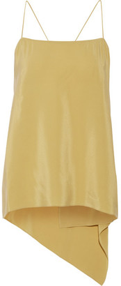 Theory - Vanissa Asymmetric Draped Washed-silk Camisole - Yellow $190 thestylecure.com