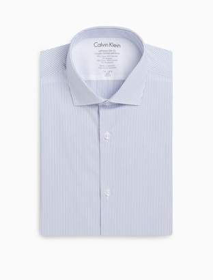 Calvin Klein x fit ultra slim fit blue white stripe dress shirt