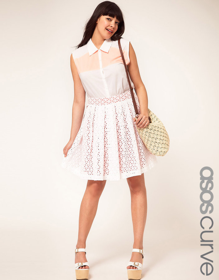 ASOS CURVE Exclusive Skirt in Cotton Embroidery