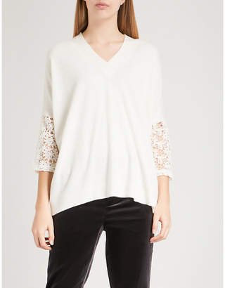 Claudie Pierlot Mania lace-panel knitted jumper