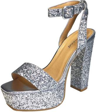 Bamboo Women's Single Band High Platform Sandal with Ankle Strap in Glitter