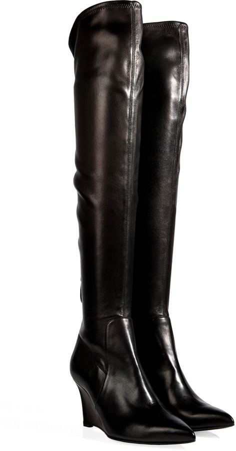Sergio Rossi Leather Over The Knee Wedge Boots in Black