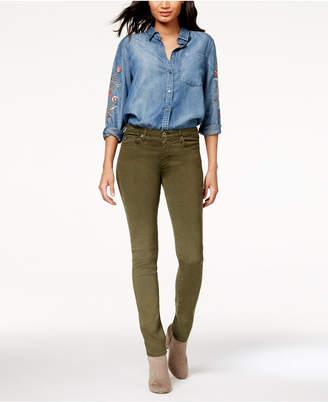 AG Jeans Prima Sulfur Dark Moss Sateen - Mid Rise Cigarette Leg
