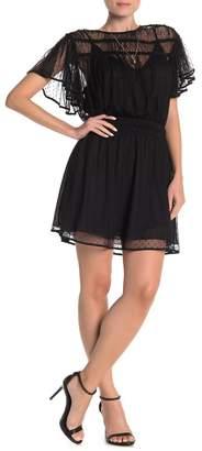 Scotch & Soda Polkadot Mesh Ruffle Sleeve Dress