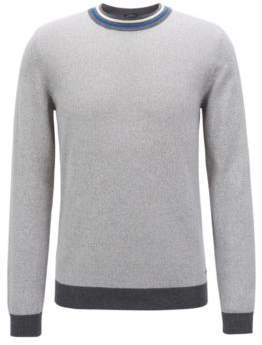 BOSS Hugo Slim-fit cotton sweater striped crew neck M Open Grey