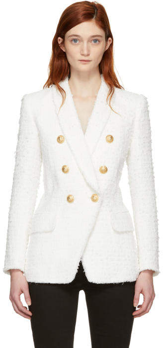 Balmain Ivory Tweed Six-Button Blazer
