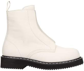 Jil Sander Navy White Leather Combact Boots