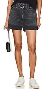 Atelier Jean Women's Cinch Belted Denim Shorts - Black