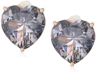 T Tahari Uptown Jewels Women's Rsg Bdi Heart Stud Clip-On Earrings