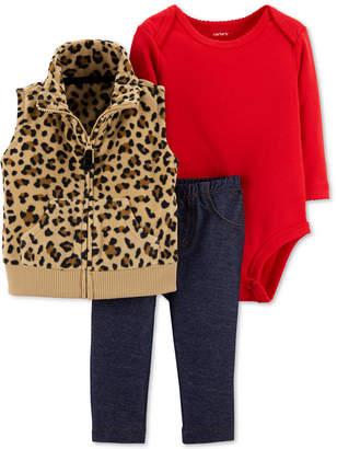 Carter's Baby Girls 3-Pc. Animal-Print Vest, Bodysuit & Pants Set
