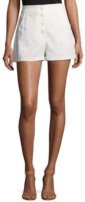 M Missoni Button-Front Solid Cotton Shorts
