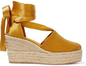 Tory Burch Elisa Satin Espadrille Wedge Sandals - Saffron