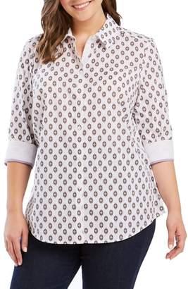 Foxcroft Ava Ikat Print Shirt
