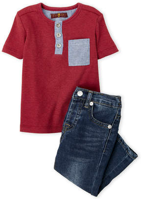 7 For All Mankind Infant Boys) Two-Piece Ribbed Henley & Jeans Set