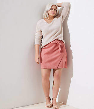 LOFT Plus Faux Suede Wrap Skirt